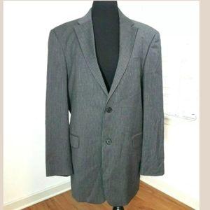TOMMY HILFIGER Gray Striped Blazer Men's 40R Wool